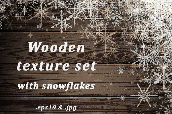 Wooden Texture Set with Snowflakes