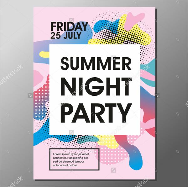 Summer Night Vector Flyer Template