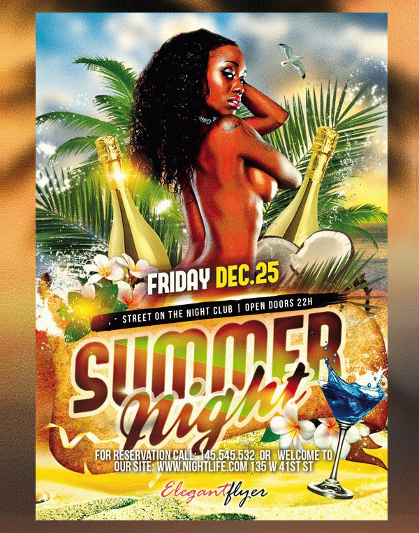 Summer Night Free Flyer PSD Template