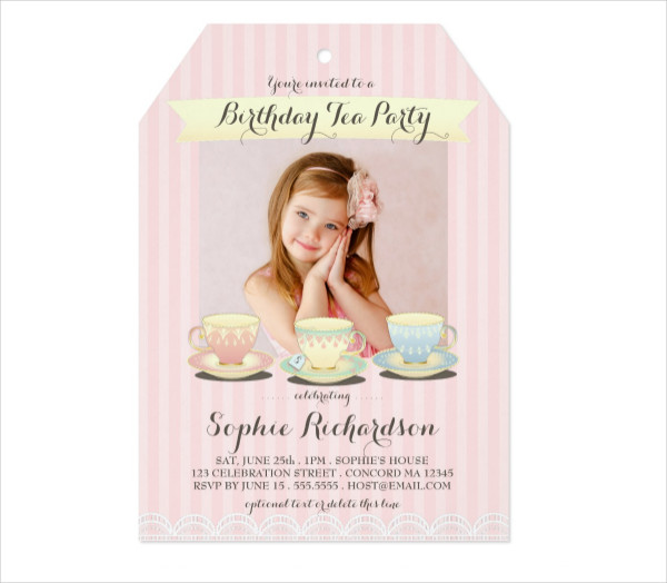 Sweetly Chic Birthday Tea Party Invitations