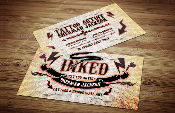 Tattoo Artist Business Card PSD Template