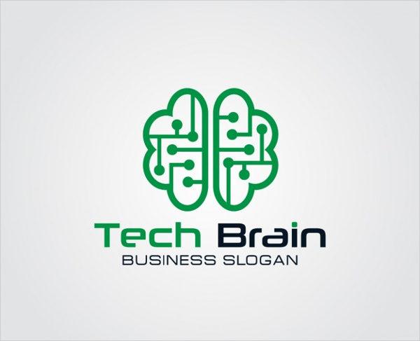 Technology Brain Logo Free Vector