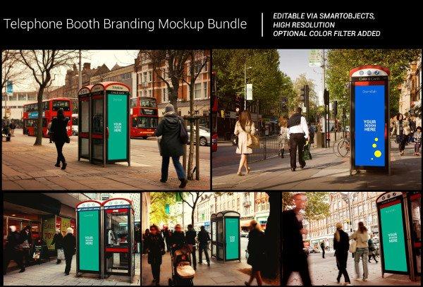 Telephone Booth Mock-Ups Bundle