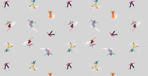 Acrobatic Skiing Textile Pattern