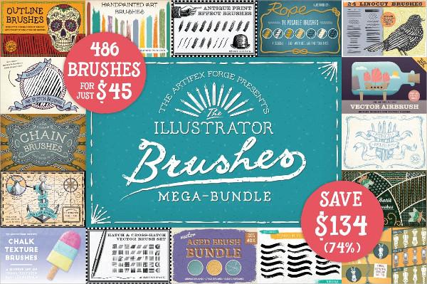 The Illustrator Brushes Mega Bundle