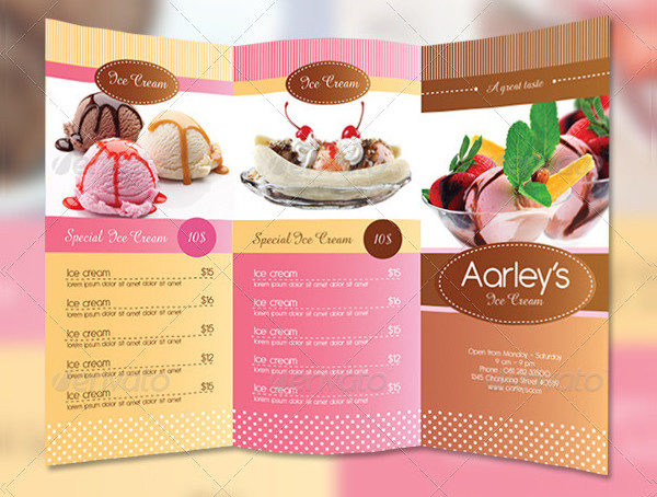 Trifold Ice Cream Menu Templates