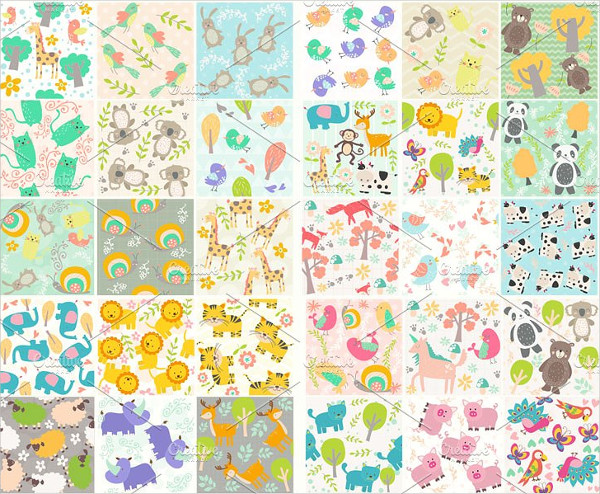 Unicorn Animals Seamless Pattern