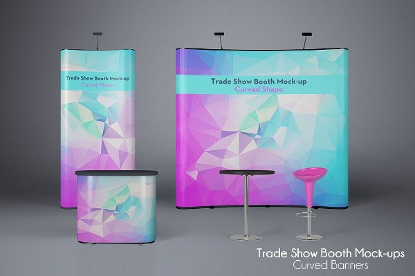 Unique Booth Stand Mockup