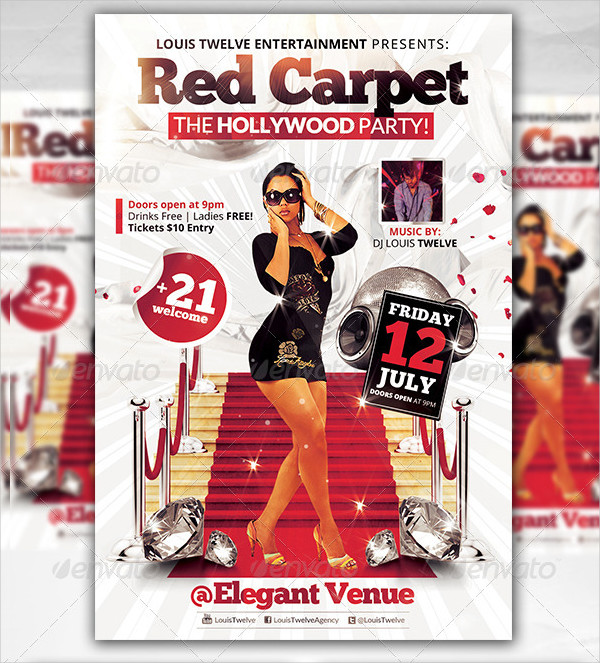 Red Carpet Hollywood Party Flyer Template