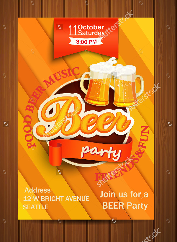 Vector Beer Music Party Flyer Illustration