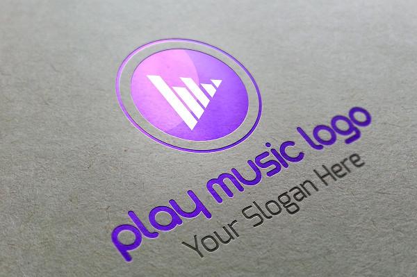 Play Music Vector Logo Template