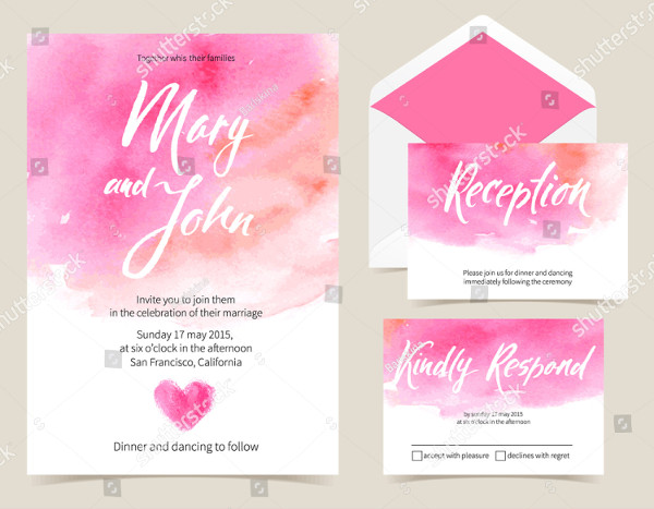 Vector Set of Invitation Cards with Watercolor