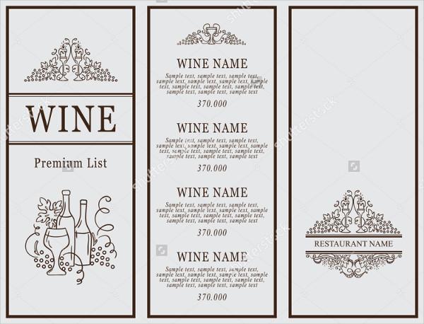Classic Design Wine Menu Template
