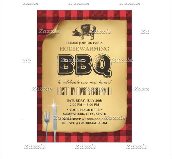 Vintage Gingham Pig Roast Housewarming BBQ Card
