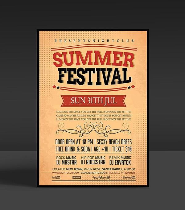 Vintage Summer Festival Night Flyer