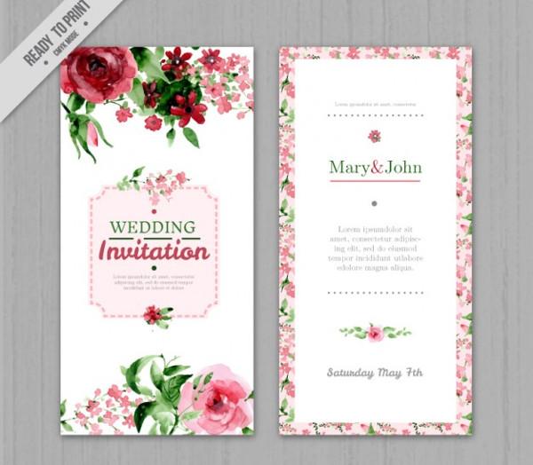 Watercolor Floral Wedding Invitation Free