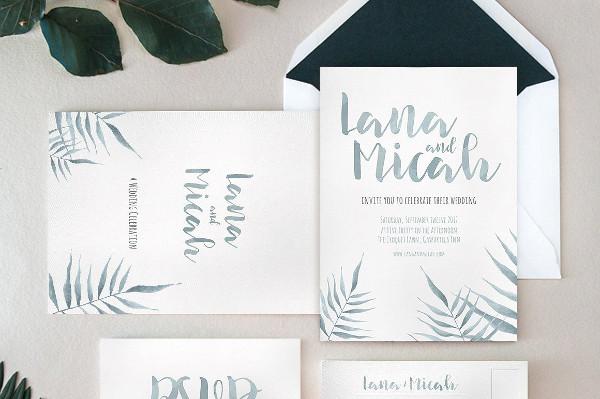 Watercolor Foliage Invitation Template
