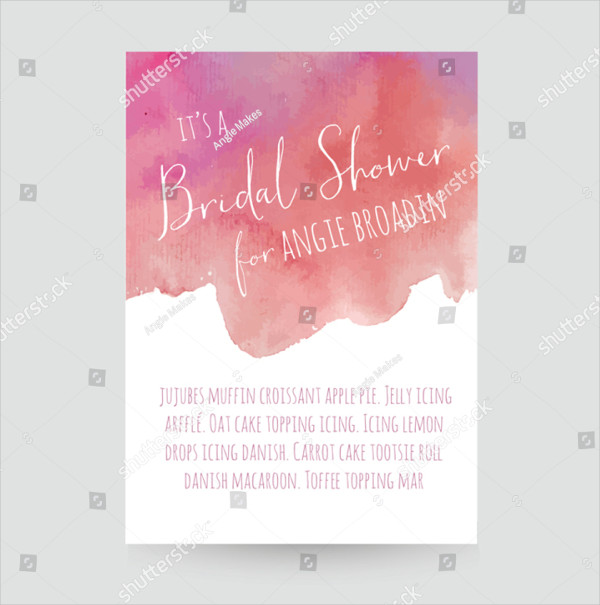 Watercolor Invitation Template for Bridal Shower
