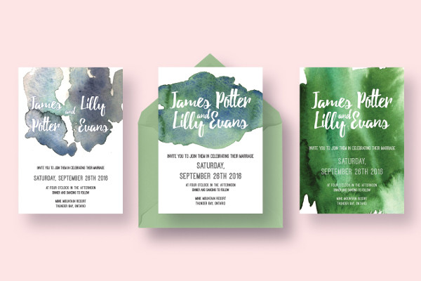 Watercolor Invitations Collection for Wedding