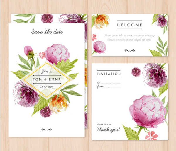 Watercolor wedding invitation with Flowers Free