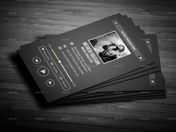 Simple Music Player Business Card Template