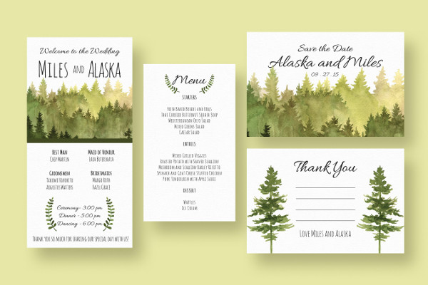 Woods Watercolor Invitations Suite