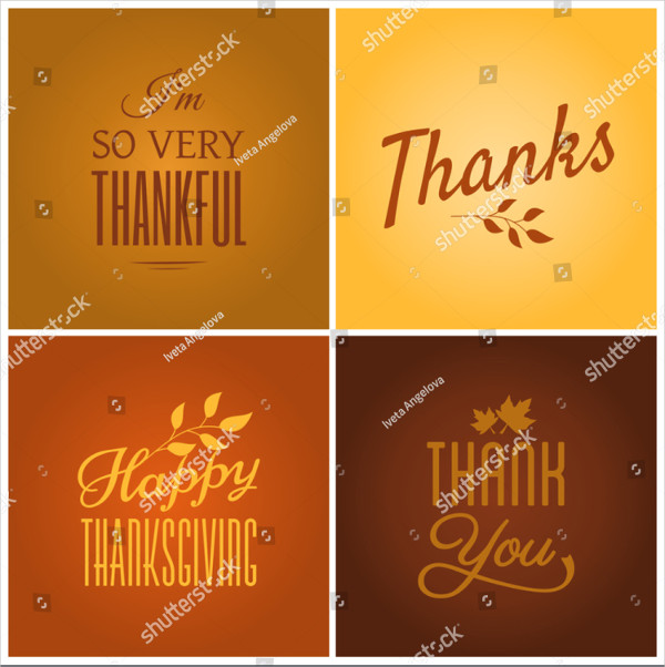 Set of Four Typographic Design Cards for Thanksgiving Day