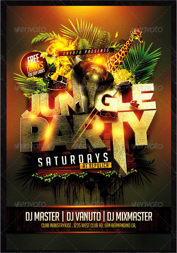 Popular Jungle Party Flyer Template