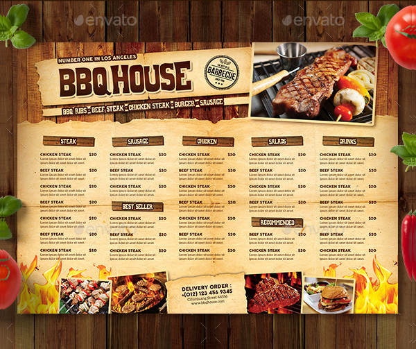 22 Printable Bbq Menu Templates Free Amp Premium Download