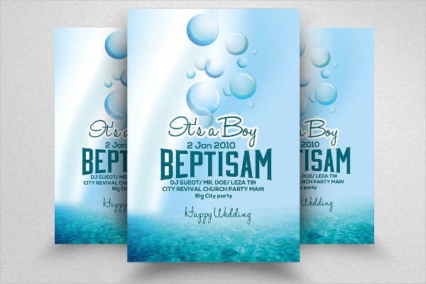 Clean Baby Shower & Baptism Flyer Template