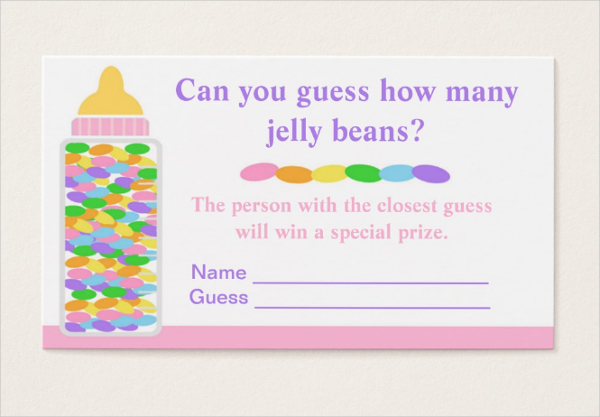 Baby Shower Game Business Card Template