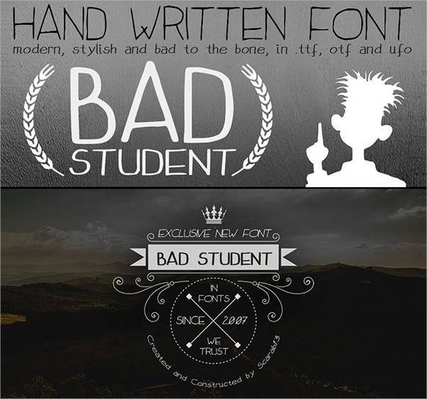 Bad Student Handwritten Font
