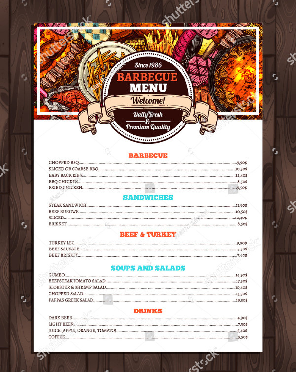 22  printable bbq menu templates