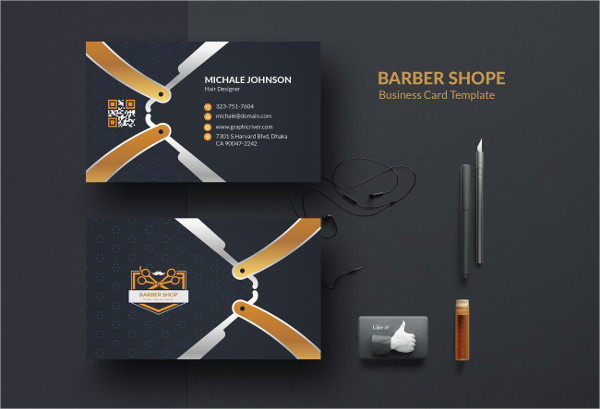 Unique Barber Business Card Template