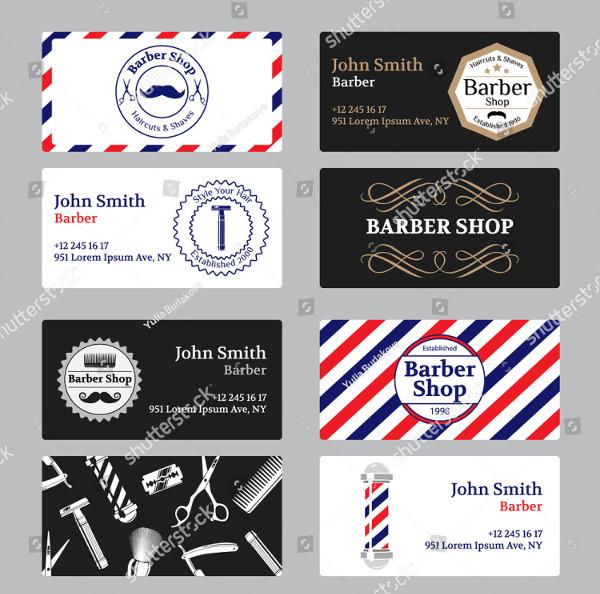 Set of Barber Shop Business Cards