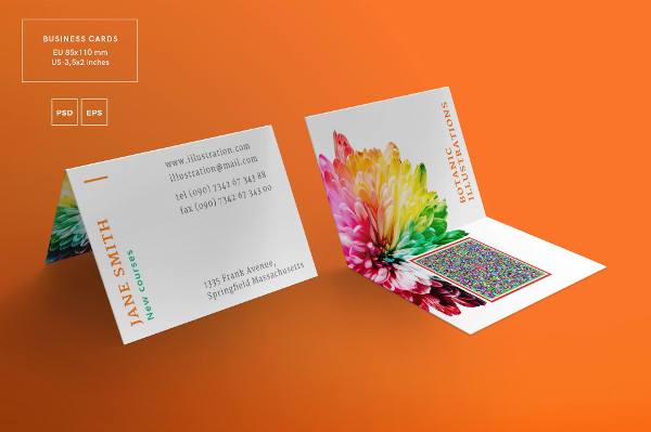 21 folded business cards free premium download botanic folded business card template fbccfo Gallery