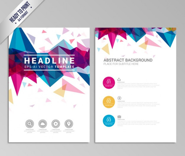 Brochure with Colorful Geometric Design Free