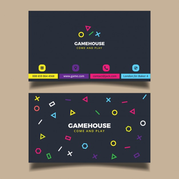 Business Card for a Video Game Business Free