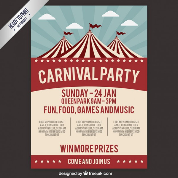 Carnival Party Poster in Retro Style Free