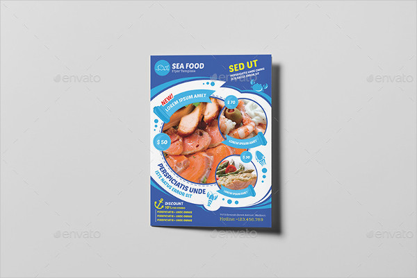 Fully Editable Seafood Bi-Fold Menu Template
