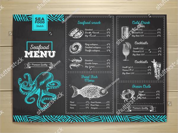 Vintage Chalk Drawing Seafood Menu Design