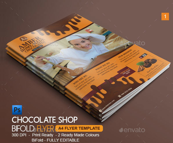 Chocolate Shop Bi-Fold Brochure Template
