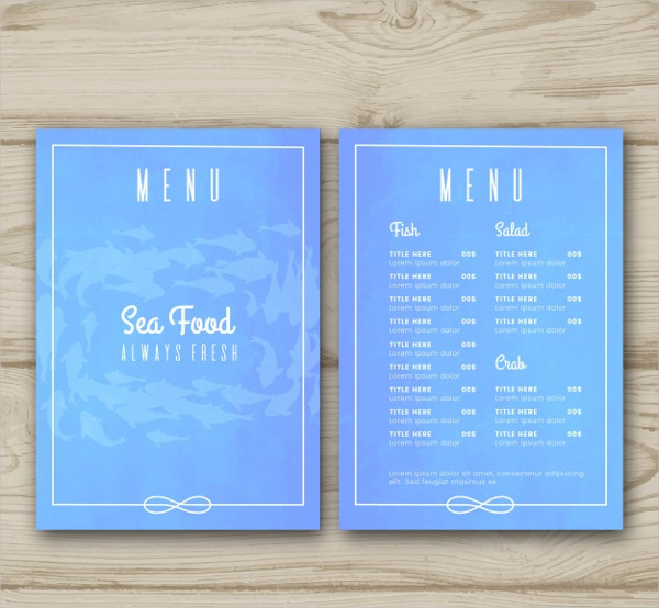 Free Printable Seafood Menu Template