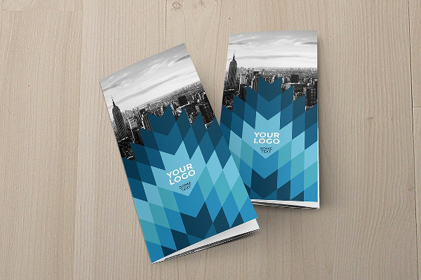 Cool Blue Trifold Brochure in Geometric Style