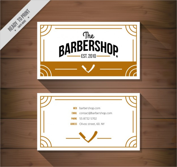 Flat Barbershop Business Card Free Vector