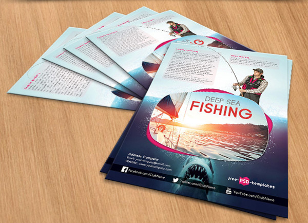 Deep Sea Fishing Free PSD Flyer Template