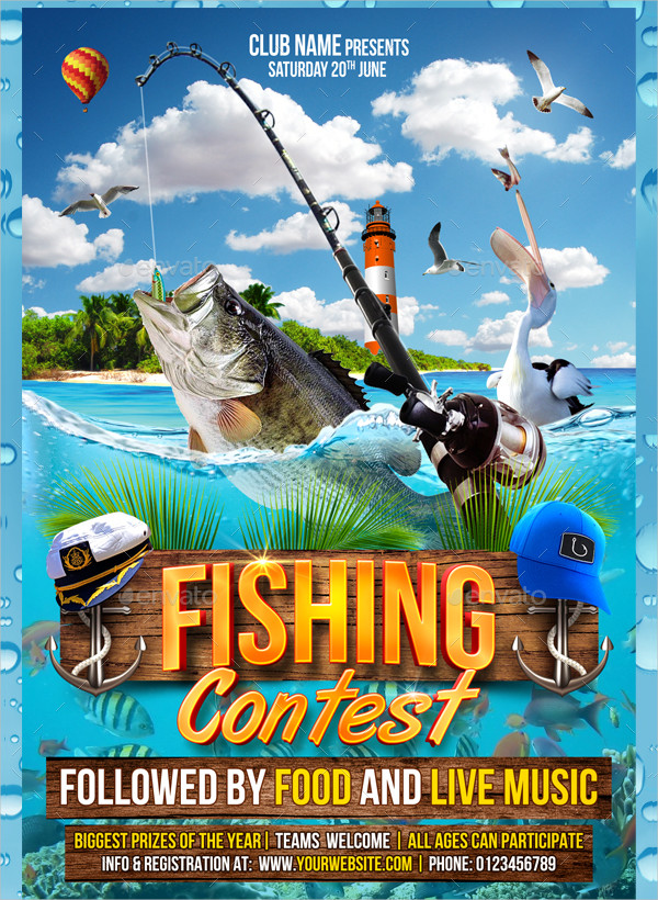 Fully Editable Fishing Competition Flyer Template