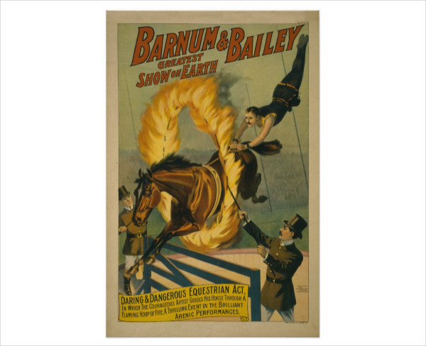 Flaming Horse Circus Poster Template