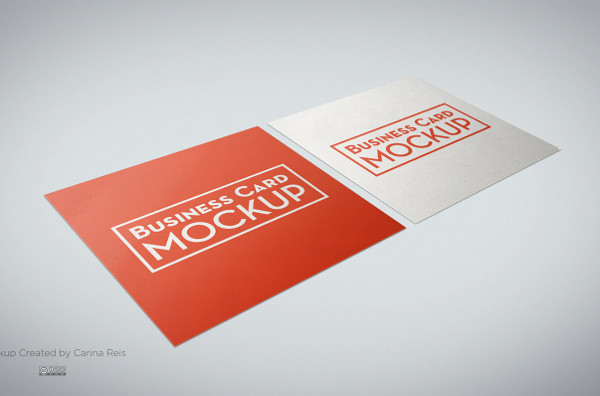 Free Square Business Card Mock-Up