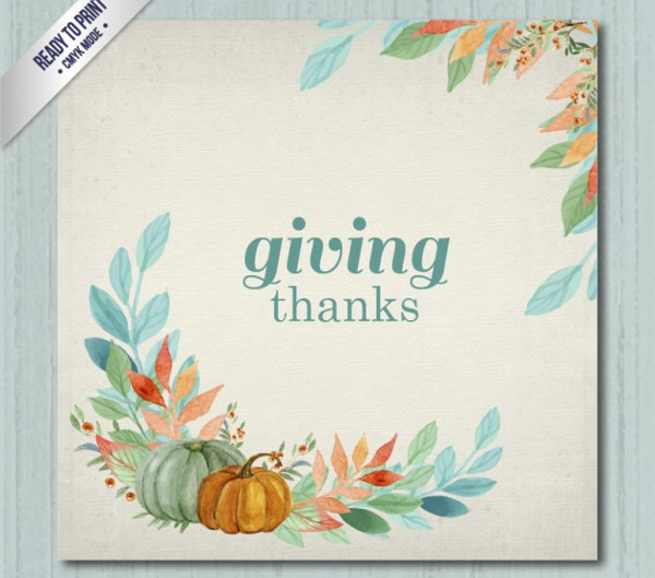 Giving Thanks Card in Hand Painted Style Free